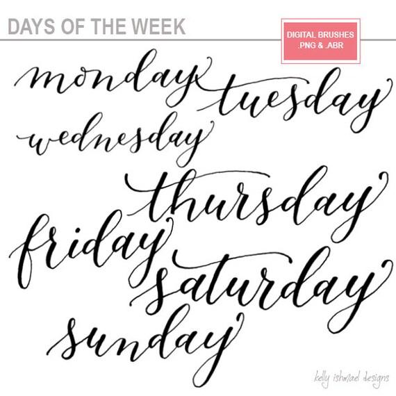 Days of the week digital word art photoshop brushes