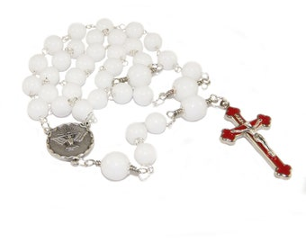 White Catholic Rosary Beads, 3 Decade Rosary, Holy Spirit Center