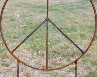 34 inch diameter Metal Peace Sign with two 32 inch tall removable legs