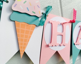 Ice Cream Banner, Sweet Shoppe Banner,Ice Cream birthday banner