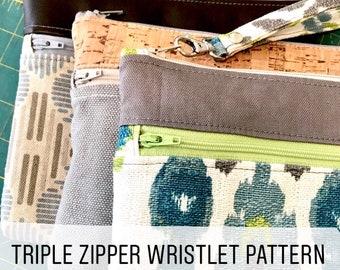 Triple Zipper Wristlet PDF Pattern, Wristlet Pattern, Zipper Wristlet Pattern