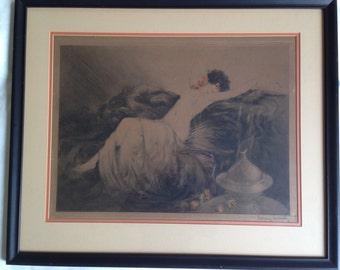 """Louis Icart engraving, """"Fumee"""", """"Smoke"""" 1926. Original signed print."""