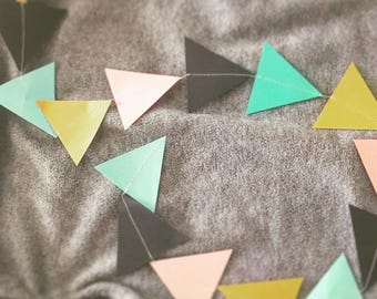 Mint, pink, black and gold triangle garland single strand