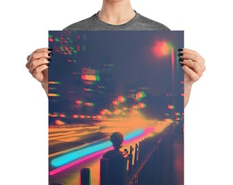New York City Glitch Art Print NYC Vaporwave Poster Psychedelic Surreal Art Original Art