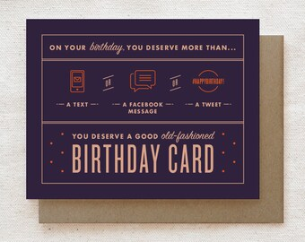 Funny Birthday Card, Thoughtful Birthday Gift, Happy Birthday Card, Unique Birthday Card, Sister Brother Best Friend Birthday Card - Text
