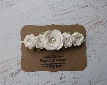 Off White Rose Garland Headband-  Wool Felt Flower Headband- Shabby Chic Wedding Flower Girl Headband