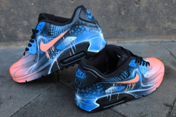 a1b17097d0 ireland nike air max 90 blue abstract style painted custom shoes sneaker  airbrush kicks rare schuhe