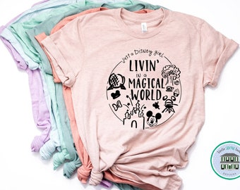 Disney Shirts | Living in a Disney World Shirt | Disney Shirts for Women | Disney World Shirt | Disney Shirt | Magic Kingdom Shirt | Disney