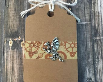 Lil' Dragon Lapel Pin / Tie Tack - Silver Tone - Antiqued Look - Tack Backing with Clutch Clasp
