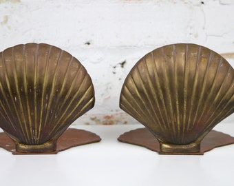 Vintage Brass Seashell Bookends Nautical Shell