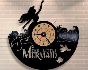 Little Mermaid birthday decorations vinyl wall record clock for home and kindergarden.
