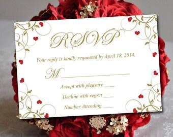 "Heart Wedding Response Card Template RSVP Insert - ""Flourishing Hearts"" Red Antique Gold - Vintage Wedding RSVP Download"
