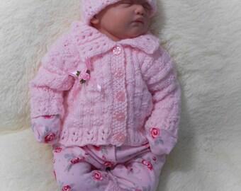 digital download PDF knitting pattern to knit baby girls cardigan hat booties set in sizes 0-3m dk yarn
