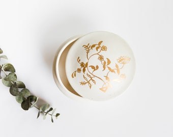 Vintage Porcelain Jewelry Holder // White and Gold Floral Catch All Dish // Vintage Ring Dish // Wedding Gift
