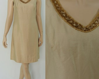 Vintage Sixties Dress - 1960s Tan Raw Silk Dress - 60s Sheath Dress with Gold Trim - Medium