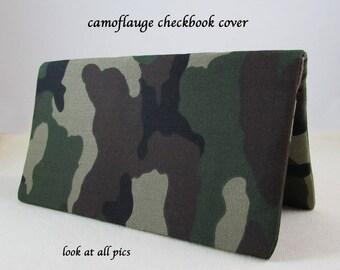 Camoflauge Checkbook Cover - Coupon Holder - Checkbook Cover Great Gift Idea - Standard Size - Camo - Black, Brown, Khaki & Green Camo Gift