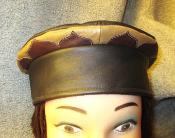 Brown Leather Kufi Hat w/ Contrasting Lotus Petals Rim, Unisex Leather Crown for Men and Women