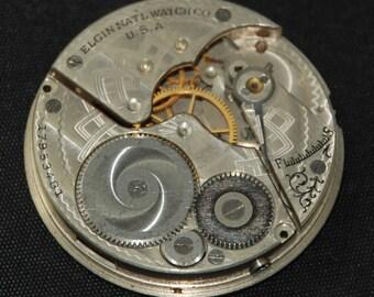 Gorgeous Vintage Antique Elgin Pocket Watch Movement metal dial face Steampunk Altered Art SM 67