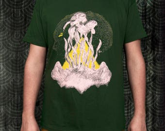 Black & Green Metaphysical Realization T-shirt by SeventeaStudios  I  Art Collection.  Pyramid. Fish. Man. Human. Ufo.