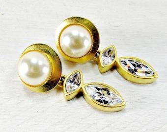 Vintage Crystal and Pearl Earrings, Long Gold Drop Dangle Earrings, Runway Statement Earrings, 1970s Byzantine Etruscan Vintage Jewelry