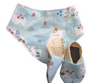 Tropical Island Map Baby Shoes and Bandana Gift Set