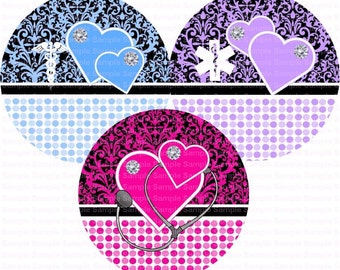 Editable Nurse Damask Button Size Images 1,837 Inch (1.5 inch Button) Digital Collage Sheet for Badges n Buttons