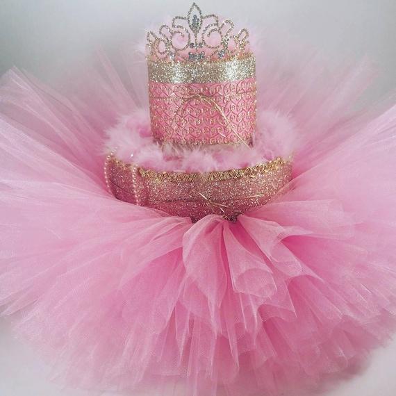 Tier pink gold diaper cake w tiara tutu pearls