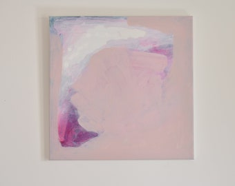 Original abstract painting, acrylic, canvas,  pink, peach, white, blue