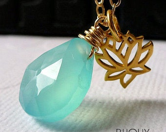 Lotus Flower and Aqua Blue Chalcedony Gold Necklace