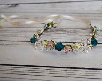 Handcrafted Pastel Pink Teal and Ivory Pearl Crystal Flower Crown - Bridal Flower Crown - Adult Flower Crown - Small Woodland Halo - Fancy