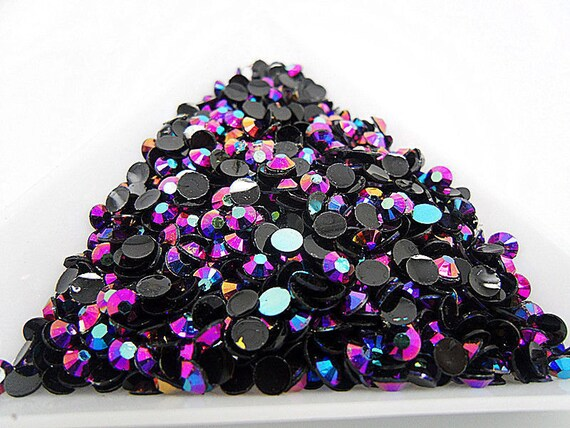 Dark Purple AB Flat Back Round Resin Rhinestones Embellishment Gems C82