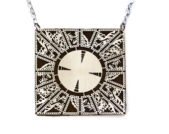 Hellraiser Puzzlebox necklace etched metal.