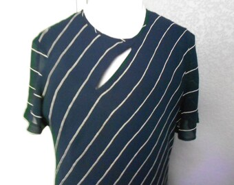 Liz Claiborne blue maxi A - line keyhole dress/Long maxi dress/Blue dress white stripe/size 12
