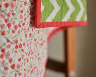 Floral + Chevron Whole Cloth Quilt