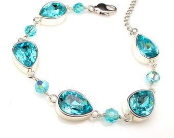 Wedding jewelry bridesmaid party gift bridal silver bracelet prom pageant swarovski light turquoise teardrop cut fancy rhinestone bracelet