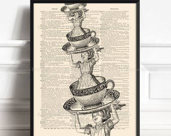 Surreal Wonderland, Alice Lover Gift, Vintage Alice decor, College Dorm Print, Alice Lewis Carroll, Curiosity Wall Art, Alice Nursery 329
