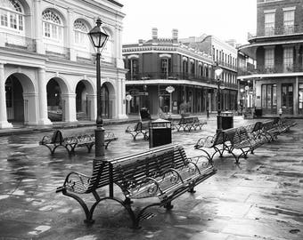 New Orleans Black and White Photography, New Orleans Fine Art Print, Jackson Square, French Quarter, New Orleans Wall Art, Travel Decor