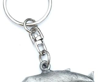 Blue Whale Handmade Pewter Keyring + Organza Bag KR736