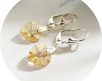 Yellow Earrings, Crystal Heart, Heart Earrings, Golden Earring, Austrian Crystal Earrings, Junior Bridesmaid, Swarovski, Bridesmaid Earrings
