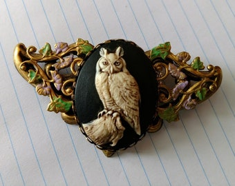 Floral brass antiqued filigree stamping base with owl cameo 40x30mm brooch or necklace convertable