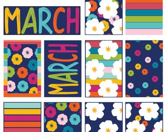BIG March Spring Break Colorful Floral Full Box Printable Sticker for BIG HP Layout