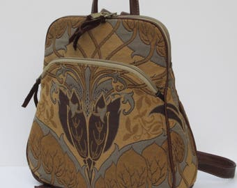 BACKPACK by Elizabeth Z Mow  Fabric and LEATHER Vintage Floral