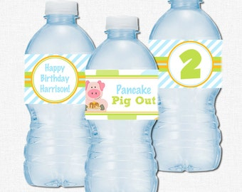 Pig Water Bottle Labels, Pancake Pig Birthday Party Decorations, Pig Bottle Wraps, Pancake Party, Personalized
