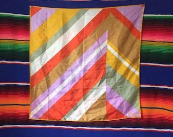"60s 70s Vera Neumann Silk Poly Square Scarf Hair Kerchief Bandana 22 by 22"""