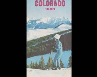 Colorful Colorado 1968 - Colorado State Highway Map Winter Edition c. 1968
