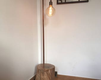 Copper Pipe Oak Tree Stump Industrial Floor Lamp - Extra Large Edison Bulb