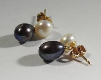 14K Two Color Pearl Drops