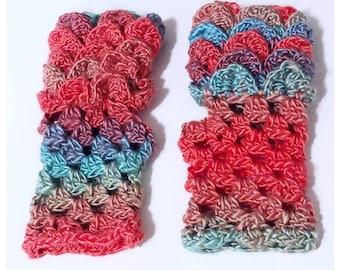 Dragon Mermaid Scale Fingerless Gloves  Warm Winter Crochet Handmade