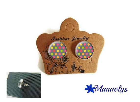 Earrings with multicolor polka dots, colorful chips silver studs, 3554 glass cabochons