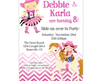 Cowgirl Invitation - Pink Chevron Adorable Twin Girl Cowgirls and Horse Personalized Birthday Party Invite - a Digital Printable File